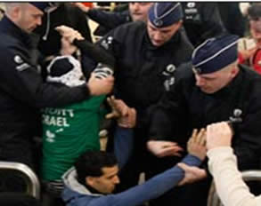 Anti-Israel activists protest at Charles de Gaulle Airport after having been prevented from boarding a plane to Israel