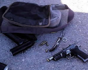 The IEDs and weapons found in the possession of the two Palestinians
