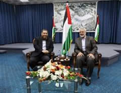 The chairman of the Al-Nour party meets with Ismail Haniya during a visit to the Gaza Strip