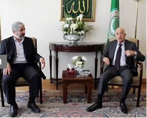 Khaled Mashaal meets with the secretary general of the Arab League in Egypt