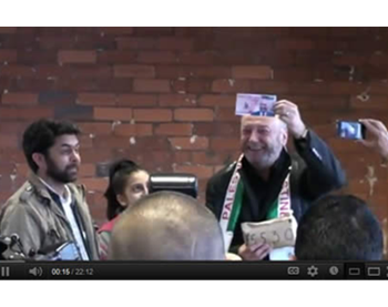 George Galloway collects donations in Bradford for support of the de-facto Hamas administration in the Gaza Strip before the convoy departs