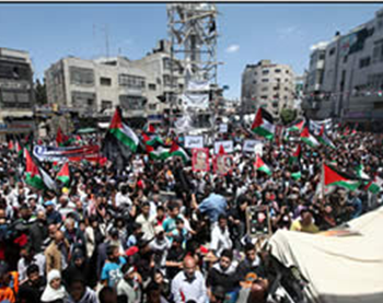 The Nakba Day rally in Ramallah