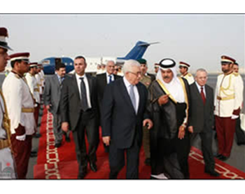 Mahmoud Abbas arrives in Qatar