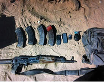 Weapons found in the terrorist's possession (IDF Spokesman, June 1, 2012).