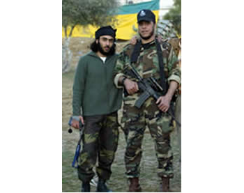 Mumtaz Dughmush, the founder and leader of the Army of Islam (right), with one of the organization's members