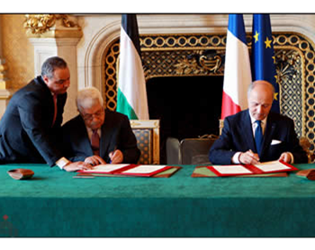 Mahmoud Abbas and the French prime minister