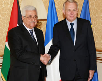 Mahmoud Abbas and the French foreign minister