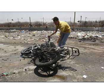 A motorbike hit by the IAF near Beit Hanoun in the northern Gaza Strip. Its two passengers, both Palestinian Islamic Jihad terrorist operatives, were killed