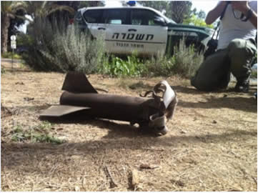 Rocket which fell in a populated area in the western Negev (Daniel Hajbi for the Sderot Media Center, June 20, 2012).