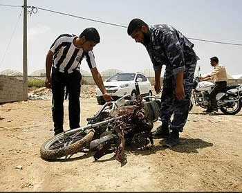 The motorbike ridden by the terrorist operative (Hamas' palestine-info website, June 21, 2012).