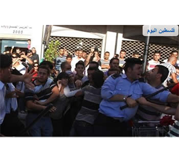 The Palestinian police suppress a violent demonstration in Ramallah (Hamas' palestine-info website, July 2, 2012).