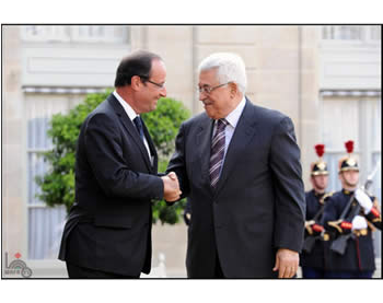 Mahmoud Abbas with French President François Hollande (Wafa News Agency, July 6, 2012)