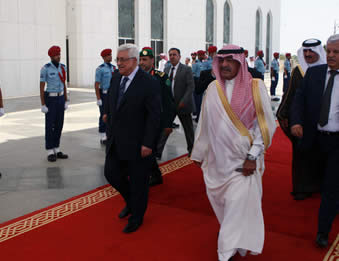 Mahmoud Abbas, Palestinian Authority chairman, gets a red-carpet reception in Saudi Arabia (Wafa News Agency, July 13, 2012).
