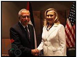 Saeb Erekat meets with Hillary Clinton (Wafa News Agency, July 15, 2012).