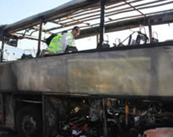 The Hezbollah terrorist attack in Bulgaria: Remains of the bus at the Burgas airport