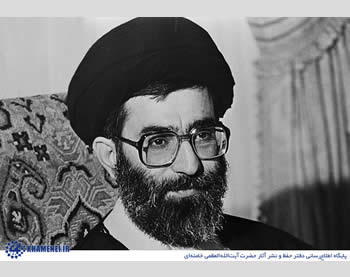 Khamenei during his presidential term, at the time of the Iran-Iraq War
