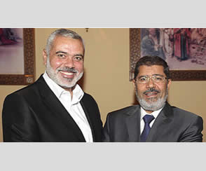 Ismail Haniya, head of the de-facto Hamas administration, meets with Mohamed Morsi for the first time since he was elected president of Egypt