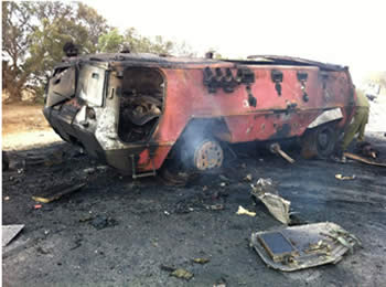 The APC which penetrated Israel and was attacked by the IDF (Picture from the IDF Spokesman's website, August 5, 2012).