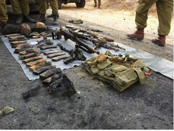 Weapons belonging to the terrorist operatives who were killed (Picture from the IDF Spokesman, date, 2012)