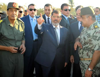 Mohamed Morsi visits El-Arish (Picture from Mohamed Morsi's Facebook page, August 7, 2012).