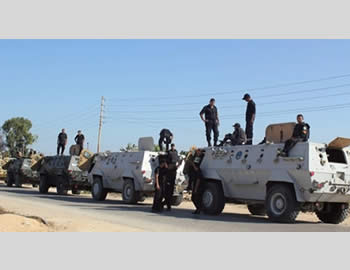 Increased Egyptian forces deployed in the Sinai Peninsula to deal with terrorism