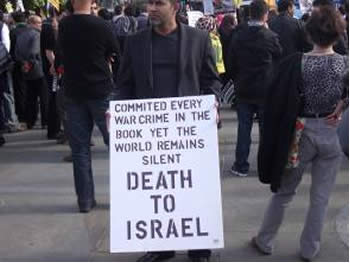 A sign held in Trafalgar Square in last year's Jerusalem Day rally (Picture from Richard Millet's Blog).