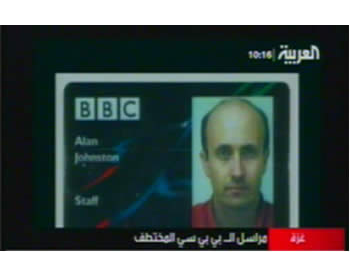Alan Johnston's press pass (Picture from Al-Arabiya TV, May 10, 2007).