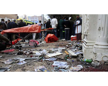 The Coptic church after the attack (Picture from the Al-Yawm Al-Sabaa website, January 3, 2011).