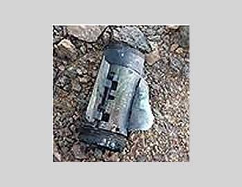 Remains of one of the Grad rockets fired at Eilat from the Sinai Peninsula (Picture from the Spokesperson for the Israel Police, August 17, 2012)