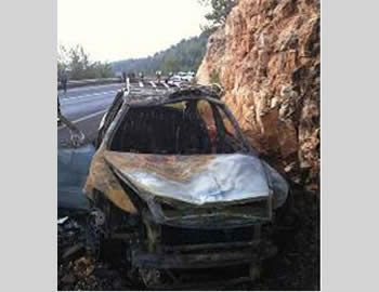 The Palestinian taxi after the attack (Spokesman for the Israel Police, Judea and Samaria district, August 17, 2012).