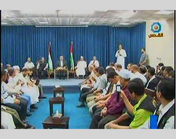 The Miles of Smiles 15 convoy received in the Gaza Strip by Ismail Haniya (Picture from Al-Quds TV, August 15, 2012).