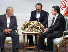 Mahmoud al-Zahar during a meeting with Iran's President Ahmadinejad (Al-Manar, Lebanon, September 9, 2012)