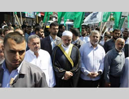 Ismail Haniyah, the head of the de-facto Hamas administration, and top PIJ official Khaled al-Batsh taking part in the protest demonstration in Gaza (Felesteen al-Aan, September 14, 2012).