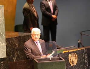 Mahmoud Abbas speaks at the UN General Assembly (Wafa News Agency, September 27, 2012)
