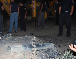 : One of the rockets that fell in the southern Israeli city of Netivot.