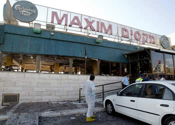 The site of the suicide bombing attack (Photo by Nir Elias for Reuters)