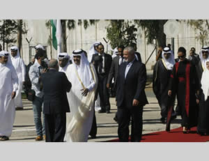 The emir of Qatar visits the Gaza Strip (Filastin al-'Aan, October 23, 2012).