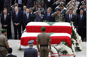 Wissam al-Hassan's funeral, attended by senior members of the Lebanese administration (Shihab, October 21, 2012).