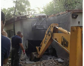 A direct rocket hit on a home in the western Negev (IDF Spokesman, October 24, 2012)