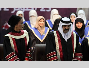 The emir of Qatar and his wife receive honorary doctorates from the Hamas-affiliated Islamic University in Gaza City (Filastin al-'Aan, October 23, 2012).