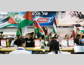 Palestinian, Israeli far-left and foreign pro-Palestinian activists demonstrate at a supermarket north of Jerusalem