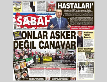 Front page of the Turkish newspaper Sabah, owned by Erdogan's son-in-law, on the day the trial opened: ''The Israelis are not soldiers, they are monsters'' (Sabah, November 6, 2012).
