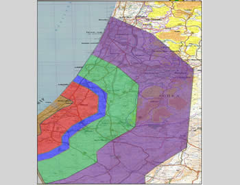 Map of Rocket Fire Ranges from the Gaza Strip