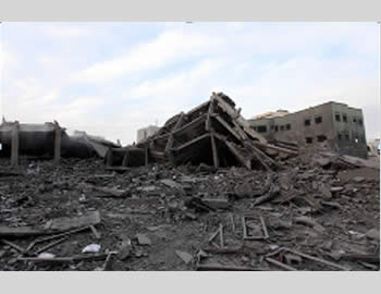 De-facto Hamas administration headquarters building after the Israeli Air Force strike (PALDF website, November 17, 2012).