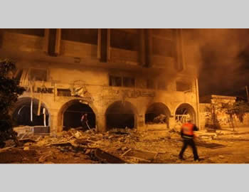 The attack on Hamas' Islamic National Bank (Filastin al-'Aan, November 19, 2012).