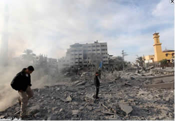 The Abu Khadra compound, where the Hamas ministry of the interior was located, after the attack