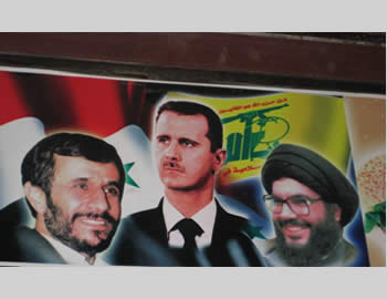 The heads of the so-called ''resistance camp:'' Ahmadinejad, Bashar Assad and Hassan Nasrallah (Sabla Oman Forum website, March 8, 2012).