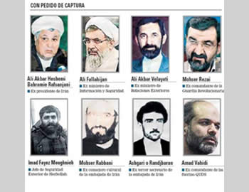 The seven high-ranking Iranians and the senior Hezbollah operative for whom the Argentinean prosecution asked for arrest warrants