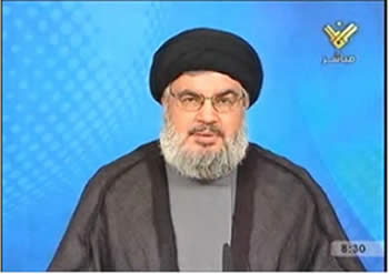 Hassan Nasrallah delivers a speech claiming responsibility for launching the UAV (Al-Manar TV, October 11, 2012)
