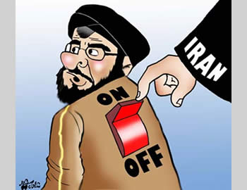 Iran hitting a giant On/Off switch on Hassan Nasrallah's back (Al-Nadwa newspaper, Saudi Arabia, April 14, 2009)